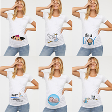T-Shirt Funny Maternity-Clothing Baby Women Short-Sleeve Top Cute O-Neck Print