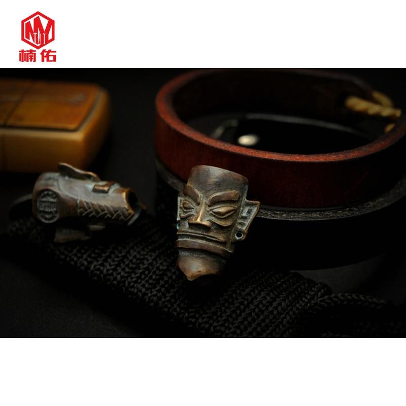 1PC Ancient China Sanxingdui Bronze Mask Brass Copper EDC Paracord Beads Lanyard Pendants Knife Beads Umbrella Rope Cord Pendant
