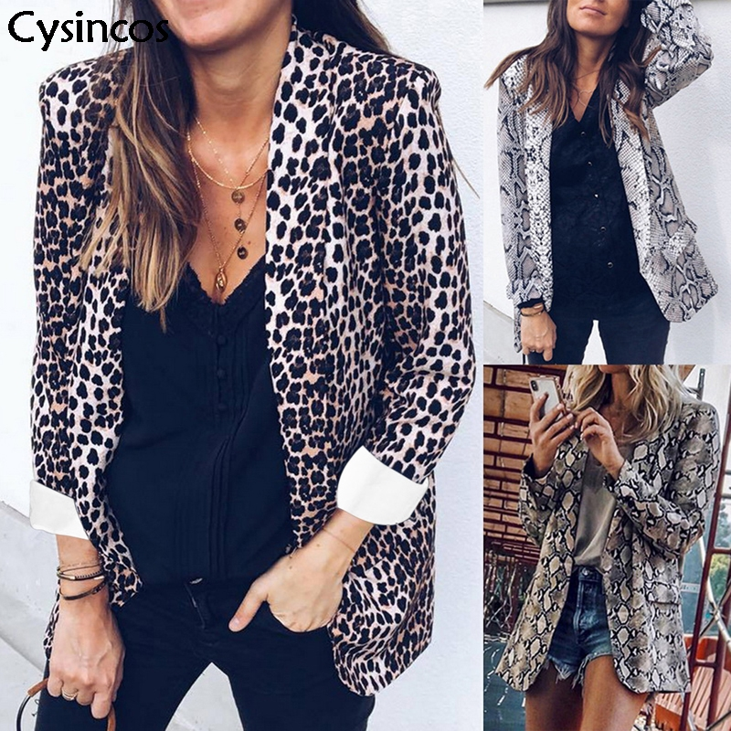 Cysincos 2019 Women Sexy Leopard Snake Print Blazer Long Sleeve Notched Collar Pockets Suits Blazer Female Coat Outerwear Tops