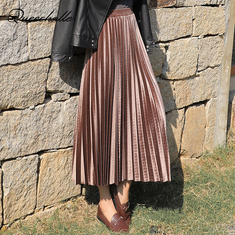 3XL Plus Size Velvet Skirt Women Vintage Autumn Winter High Waisted Elegant Maxi Skirts Female Skinny Pleated Skirt Peacock Blue