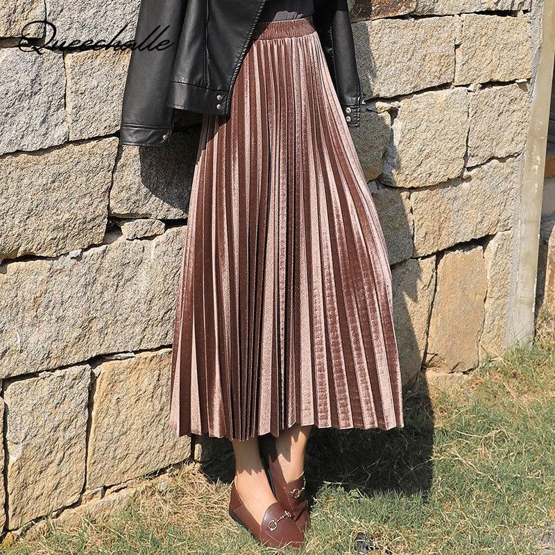 3XL Plus Size Velvet Skirt Women Vintage Autumn Winter High Waisted Elegant Maxi Skirts Female Skinny Pleated Skirt Peacock Blue