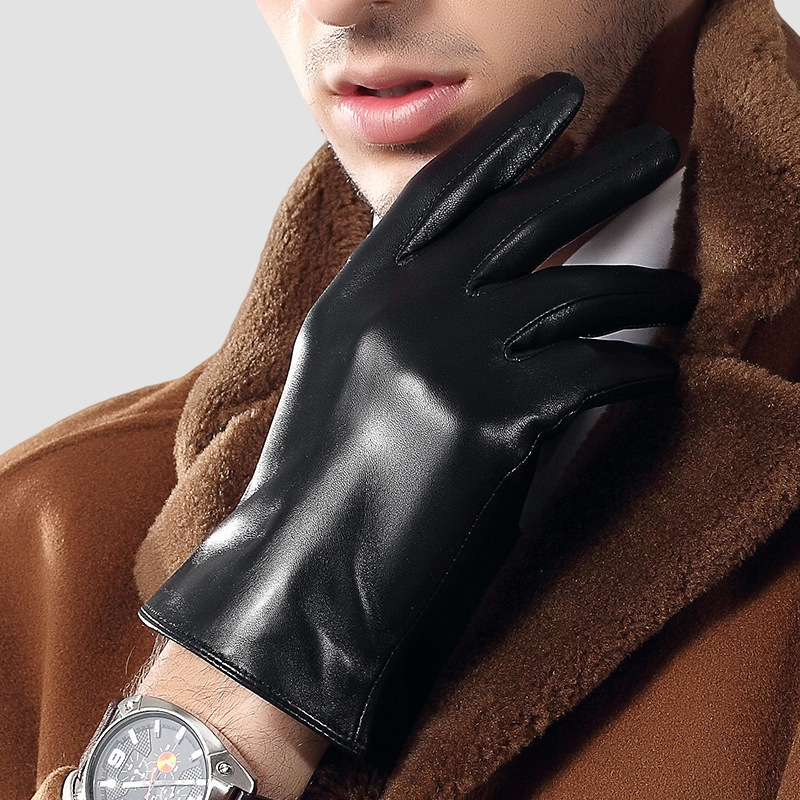 Man's Real Leather Gloves Spring Autumn Thin Sheepskin Gloves Driving Fashion Simple Black Male Gloves Free Shipping TE3863-60
