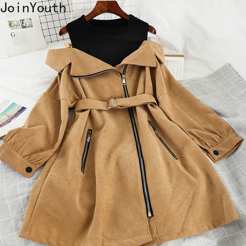 Joinyouth Fake Two Pieces Strapless Sexy Dress Hit Color Long Sleeve O-neck A-line Dresses Belt Bandage Zipper Slim Dress 57026