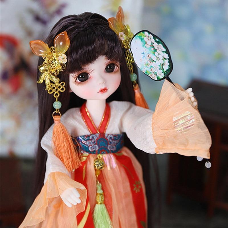 Sonho de fadas 1/6 bjd bonecas pouco anjo série 28cm bola conjunta bonecas com couro cabeludo olhos roupas maquiagem diy brinquedo boneca presente para meninas