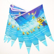 2.5m/set Minions Banner And Flag Cartoon Theme Party Favors Kids/Boys Happy Birthday Decoration Supplies