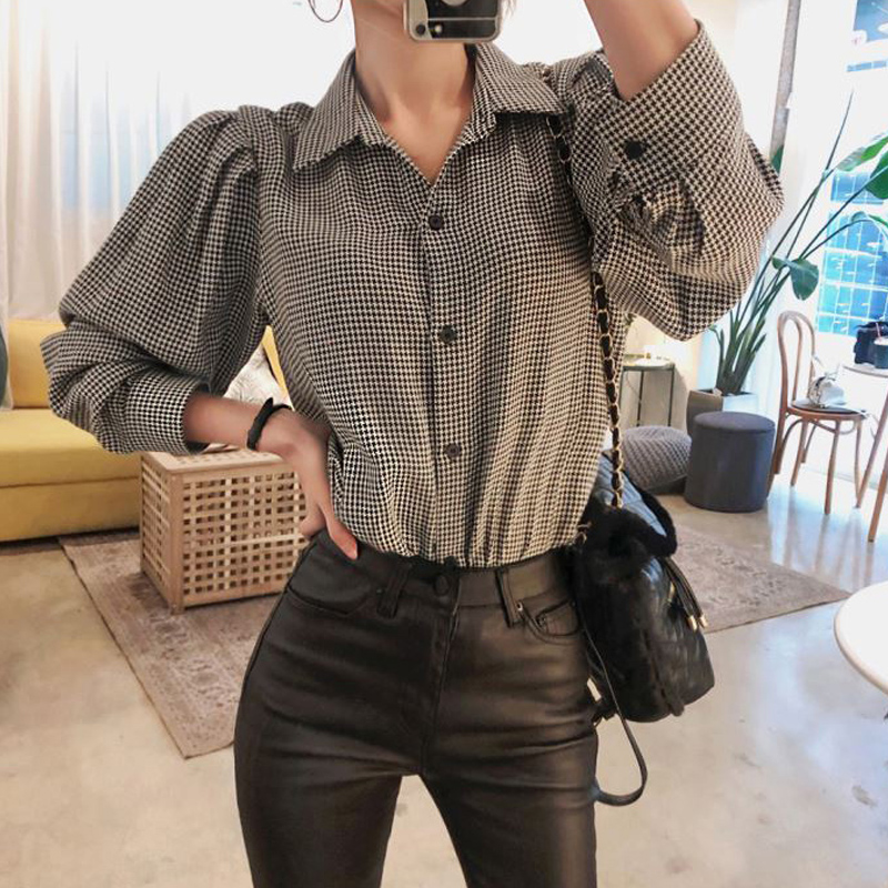 CINESSD The Sexy Office Blouse Render Tops Women Autumn Cotton Korean Gray Elegant Puff Sleeve Notched Joker Plaid Tops