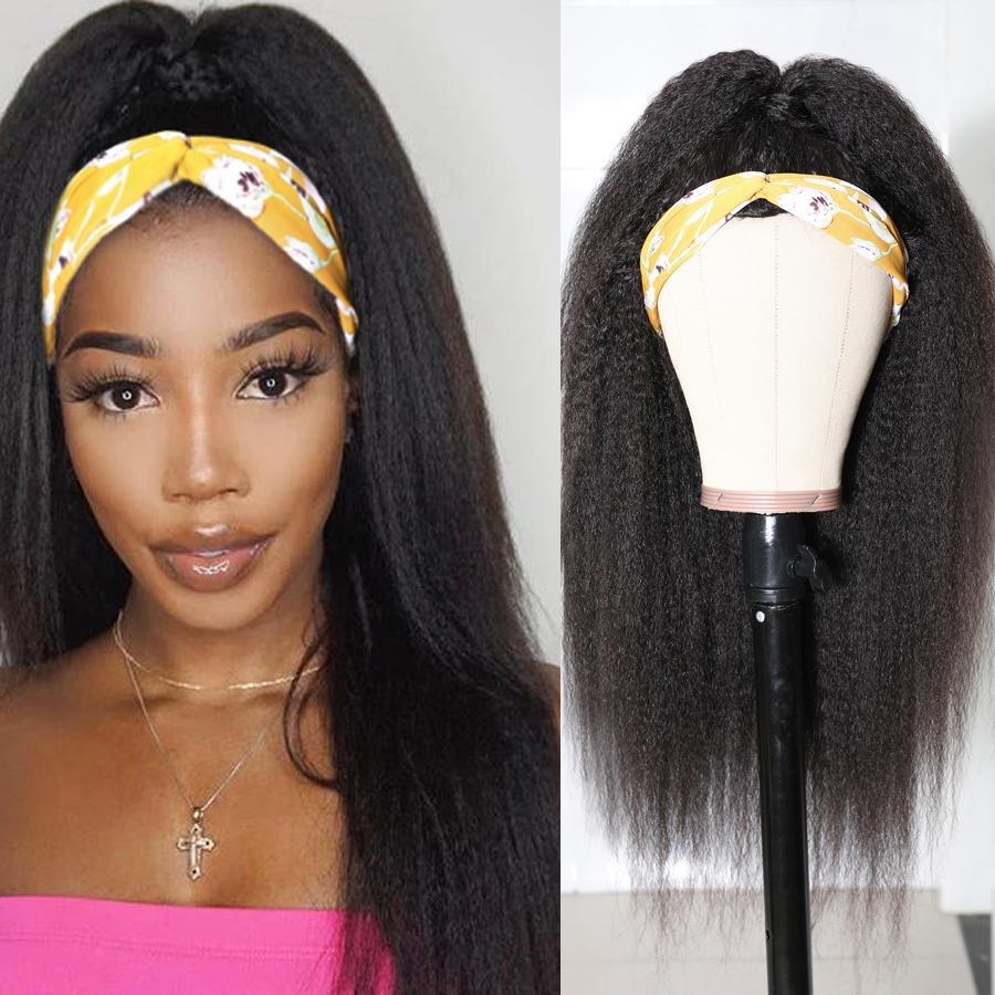 Headbands Wig   Kinky Straight  Glueless Natural Wig With Head Band Full Machine Made Wig 150% Density 1