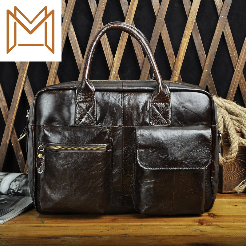 Head Layer Oil Wax Cowhide Genuine Leather Man 14 Inch Business Affairs Portable Document Computer Package