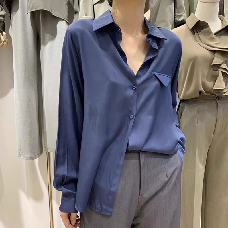 Blue Long Sleeve Shirt Women Elegant Pocket Loose Formal Blouse 2020 Spring Plus Size Casual Soft Tops