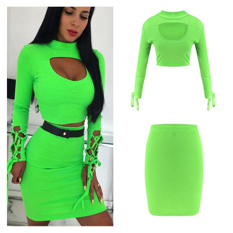 Goocheer Women 2 Pcs set Outfits Streetwear Patchwork Hollow Out O-Neck Long Sleeve Solid Short Top+Elastic Waist Pencil Skirt