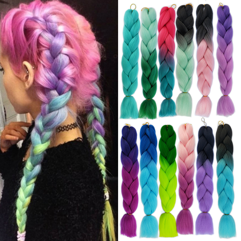 XJBB Synthetic Hair Braids Ombre Braiding Hair Extension Jumbo Crochet Braids 100g 24inch