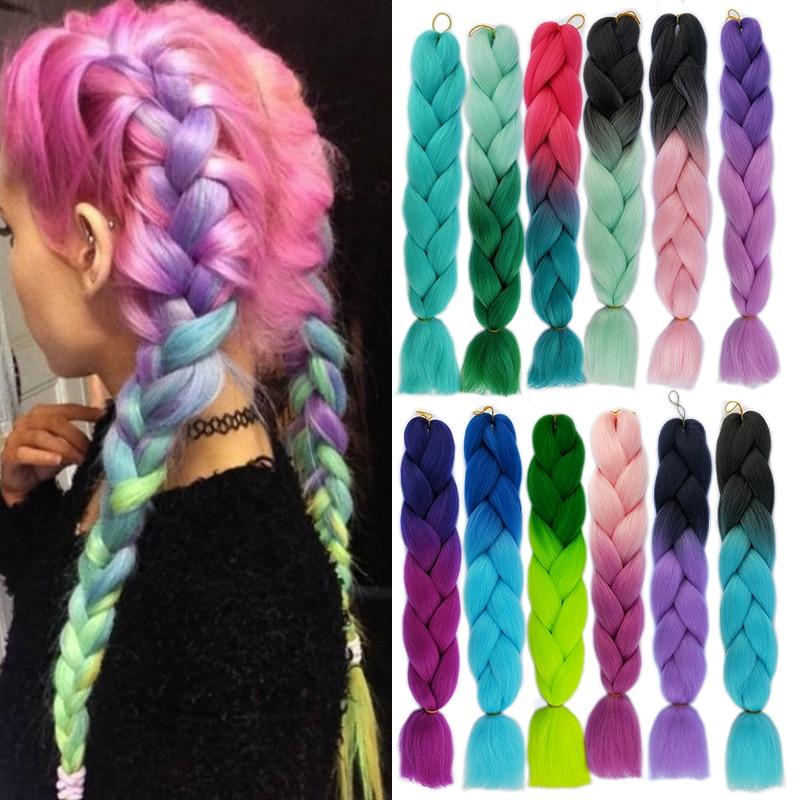 XJBB Synthetic Hair Braids Ombre Braiding Hair Extension Jumbo Crochet Braids 100g 24inch