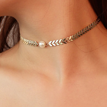 Cross-border Jewelry Personality Simple Euro Fanchao Money Letter V Chain Pearl Hanging Clavicle