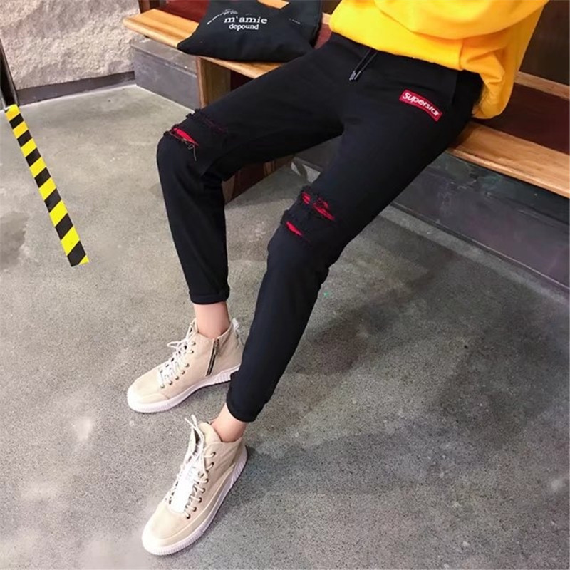 18 Spring New Style Patch With Holes Jeans Men Skinny Pants Slim Fit Korean-style Trend Cowboy Casual Trousers Men's