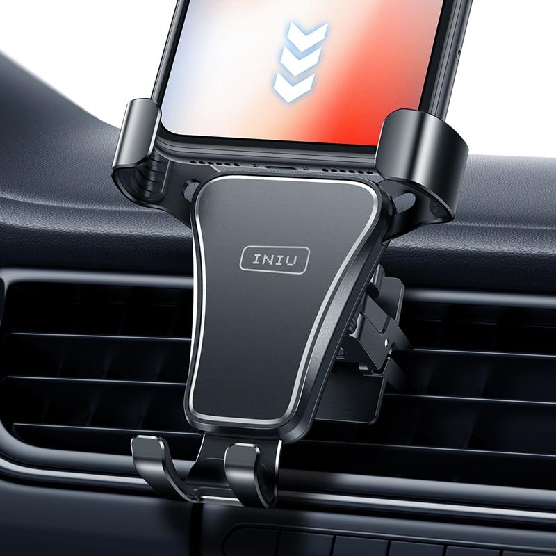 INIU gravité Support de téléphone voiture évent montage Support Mobile Smartphone GPS Support pour iPhone 12 11 Pro Max 8 7 6 Xiaomi Samsung