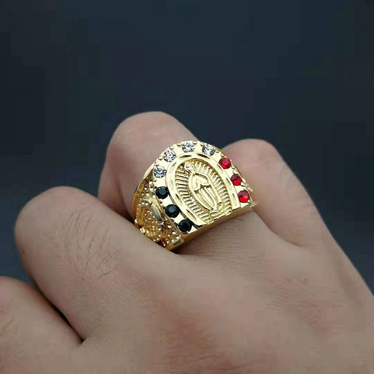 Hip hop Fashion Gold color Tone Cross Finger Stainless steel Ring For Men Prayer Christian Jesus Band Biker Rock Wedding Jewelry image