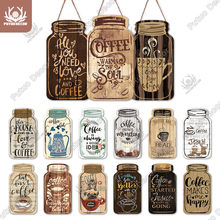 Putuo Decor Coffee Plaques Mason Jar Shape Wooden Signs Irregular Plate for Cafe Decoration Kitchen Wall Decor Decorative Plaque