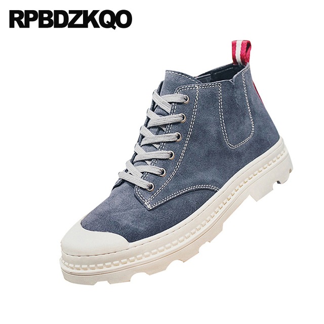 boots genuine leather short suede fashion booties military korean army high top combat lace up designer shoes men quality fall