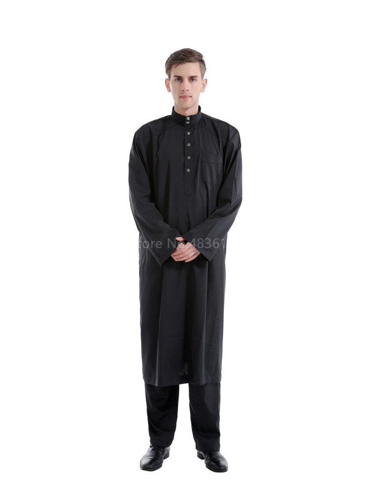 Hd99e66bc0ad345faafc682a4091844d9E - Islamic Clothing Men Muslim Robe Arab Thobe Ramadan Costumes Solid Arabic Pakistan Saudi Arabia Abaya Male Full Sleeve National