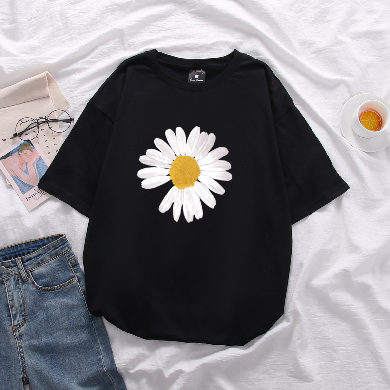 Daisy printed women's cotton large size loose short-sleeved t shirt unisex mid-length Tops soft summer T-shirt 1