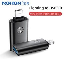 NOHON Adapter OTG dla iphone IOS13 dla iphone 11 Pro X XS MAX XR 8 ładowanie synchronizacja danych U oświetlenie dysku na USB OTG podłącz Adapter