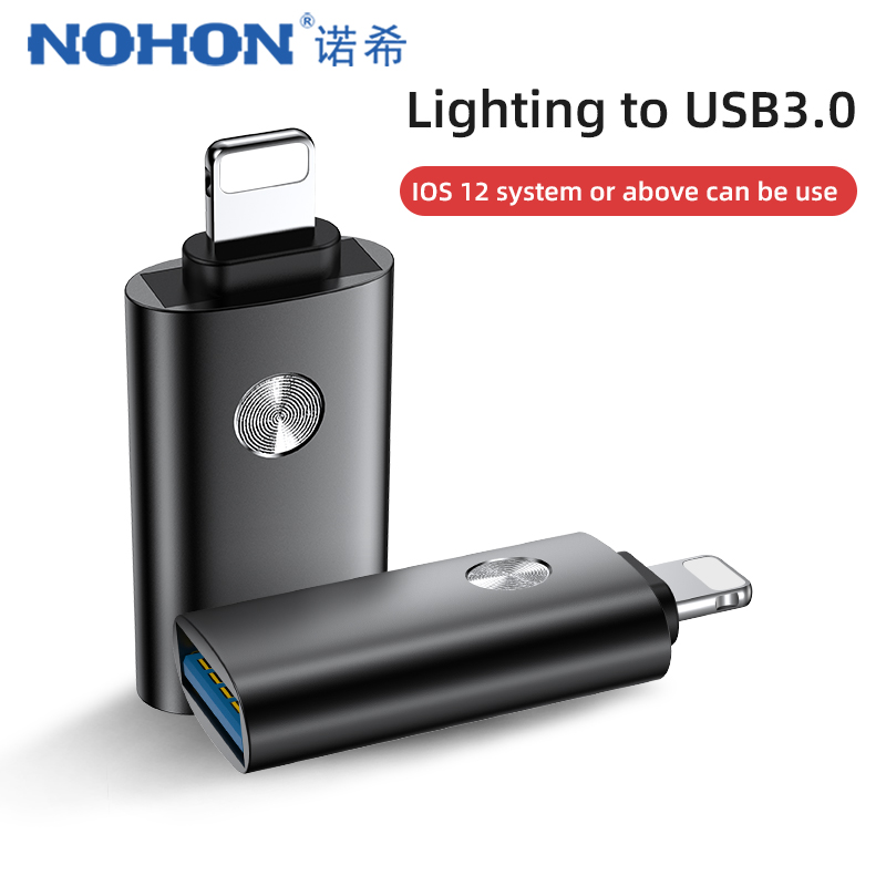 NOHON OTG Adapter For Iphone IOS13 For IPhone 11 Pro X XS MAX XR 8 Charging Data Sync U Disk Lighting To USB OTG Connect Adapter