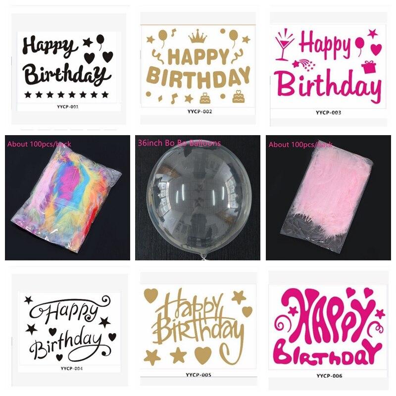 18 polegada pvc transparente balão de bolha de hélio ou feliz aniversário adesivo ou pena ou borla festa de aniversário decoração de casamento