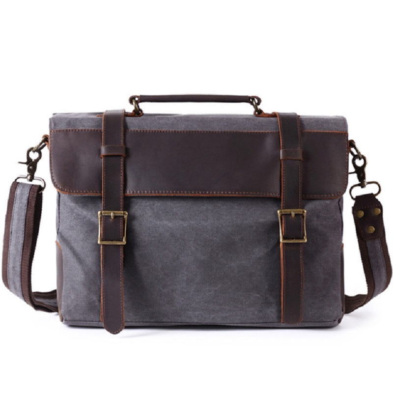 M372 New Men Briefcase Handbag  Leather Canvas Patchwork Men Messenger Bag Vintage Brand Male Shoulder Laptop Bag Travel Bag