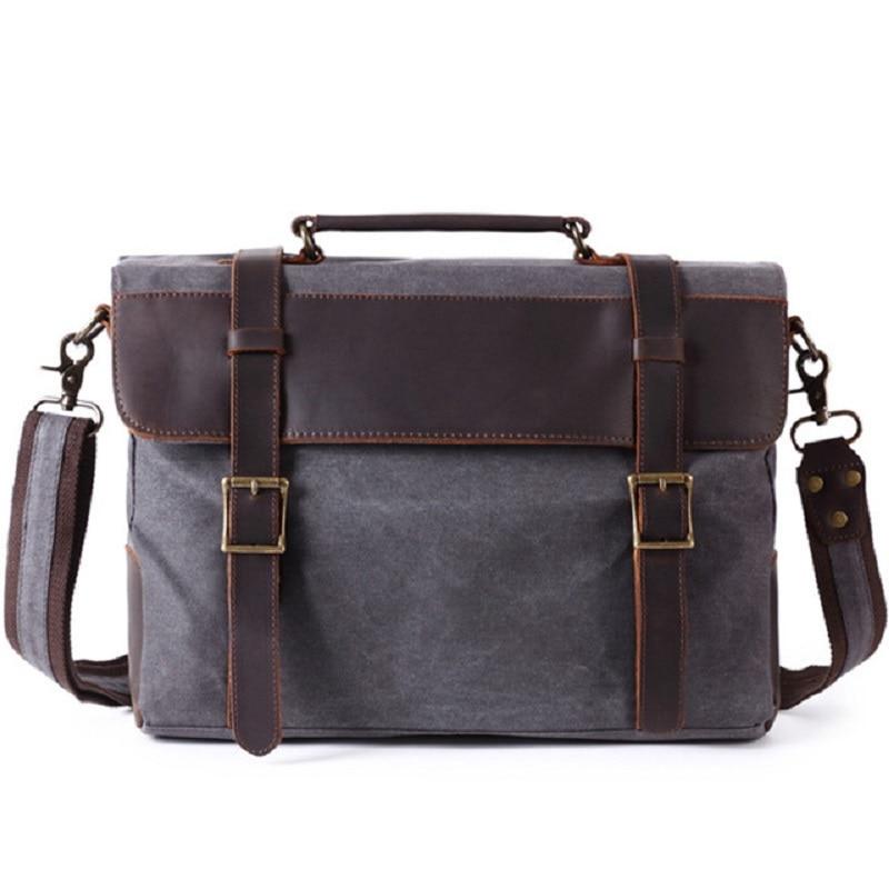 M372 New Men Briefcase Handbag  Leather Canvas Patchwork Men Messenger Bag Vintage Brand Male Shoulder Laptop Bag Travel Bag
