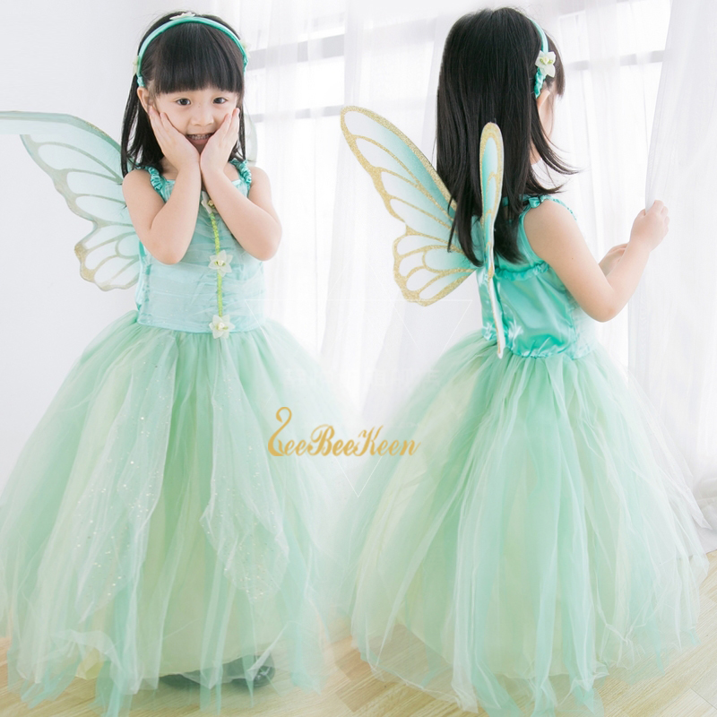 Girls Flower Fairy Dress Up Kids Tinker Bell Fairies Fancy Dress With Wings Child Halloween Princess Costume Elves Party Clothes