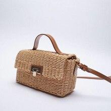 Tobo novo verão rattan saco travesseiro palha bolsa bonito praia único-ombro mensageiro saco de viagem à beira-mar crossbody designer saco