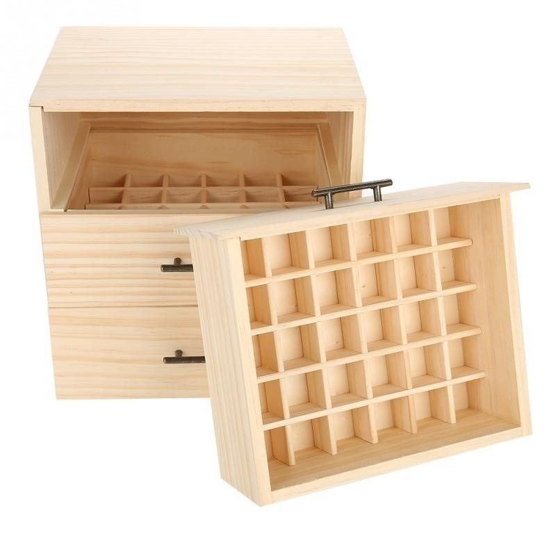 90 Bottles Essential Oil Wooden Box Organizer Large Wood Storage Case Protector