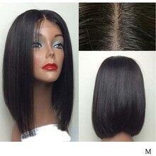 LUFFYHAIR kısa postiç brezilyalı % 100% Remy saç düz 5*4.5 ipek taban tam sırma insan saçı peruk ön koparıp ağartılmış knot