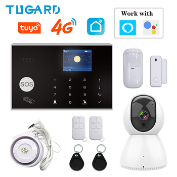 цена на TUGARD IOS Android APP Wireless Home Burglar WIFI GSM/3G&4G Alarm System Remote Control Auto Dial Siren Sensor Alarm System Kit