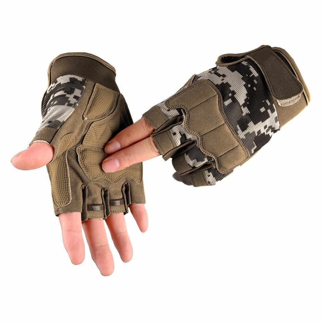 Men's Tactical Gloves Military Army Fingerless Gloves Unisex Outdoor Sports Anti-Slip Shooting Paintball Airsoft Bicycle Gloves
