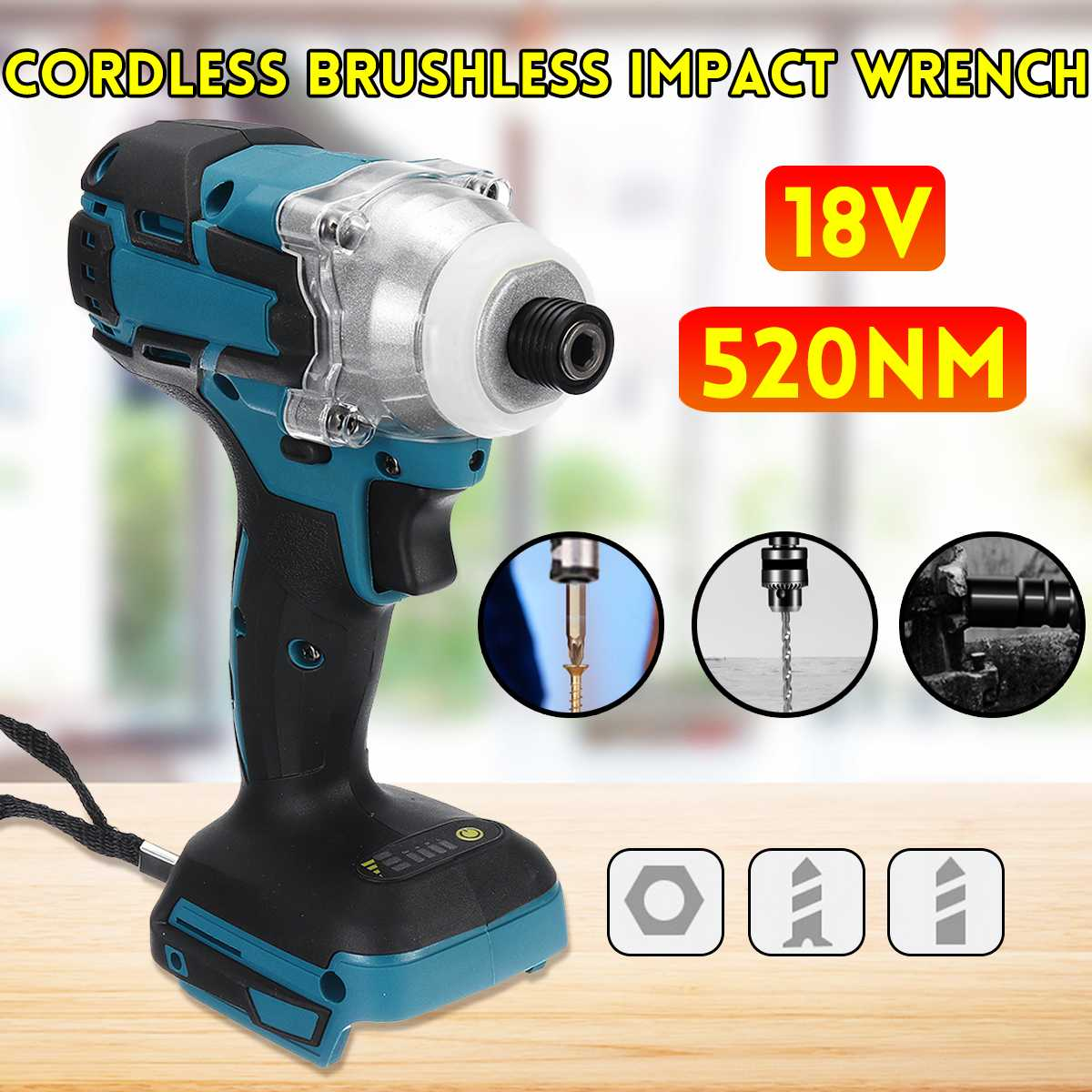 18V 520N.m Electric Brushless Impact Wrench Rechargeable 1/2'' Socket Cordless Wrench Screwdriver For Makita Battery