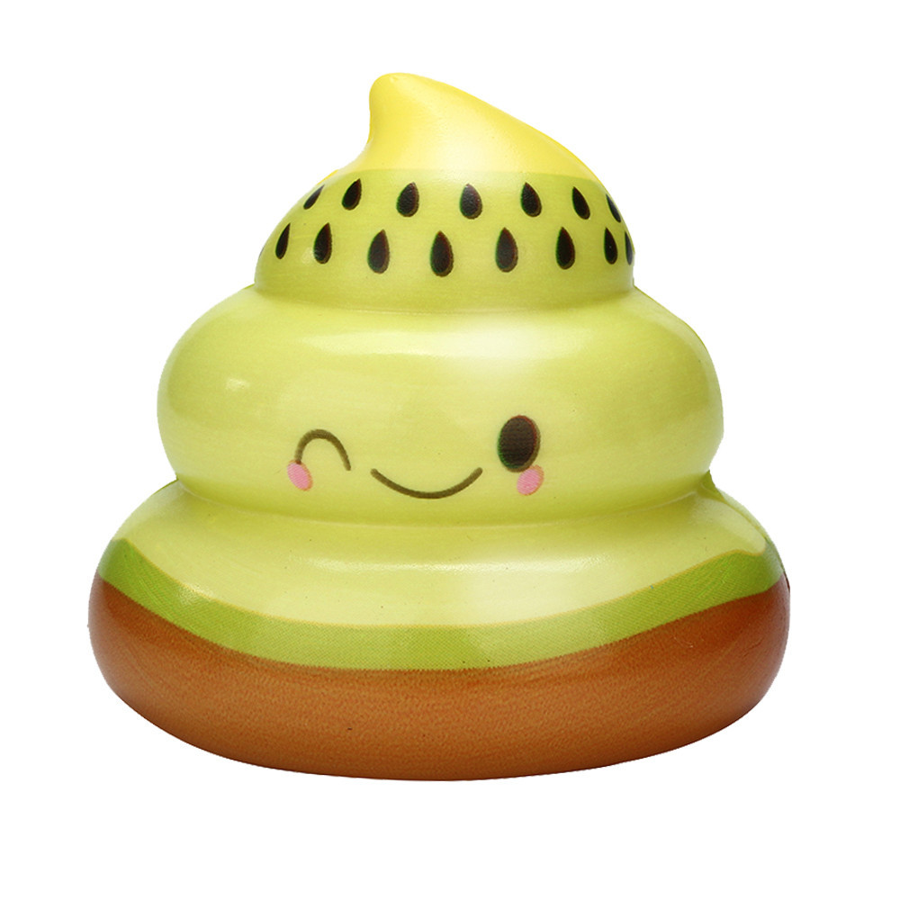Cartoon Kiwi Fruit Poo Slow Rising Fun Stress Relief Toy Eliminate Antistress Finger Pets Toy Interesting Novelty Toy #A