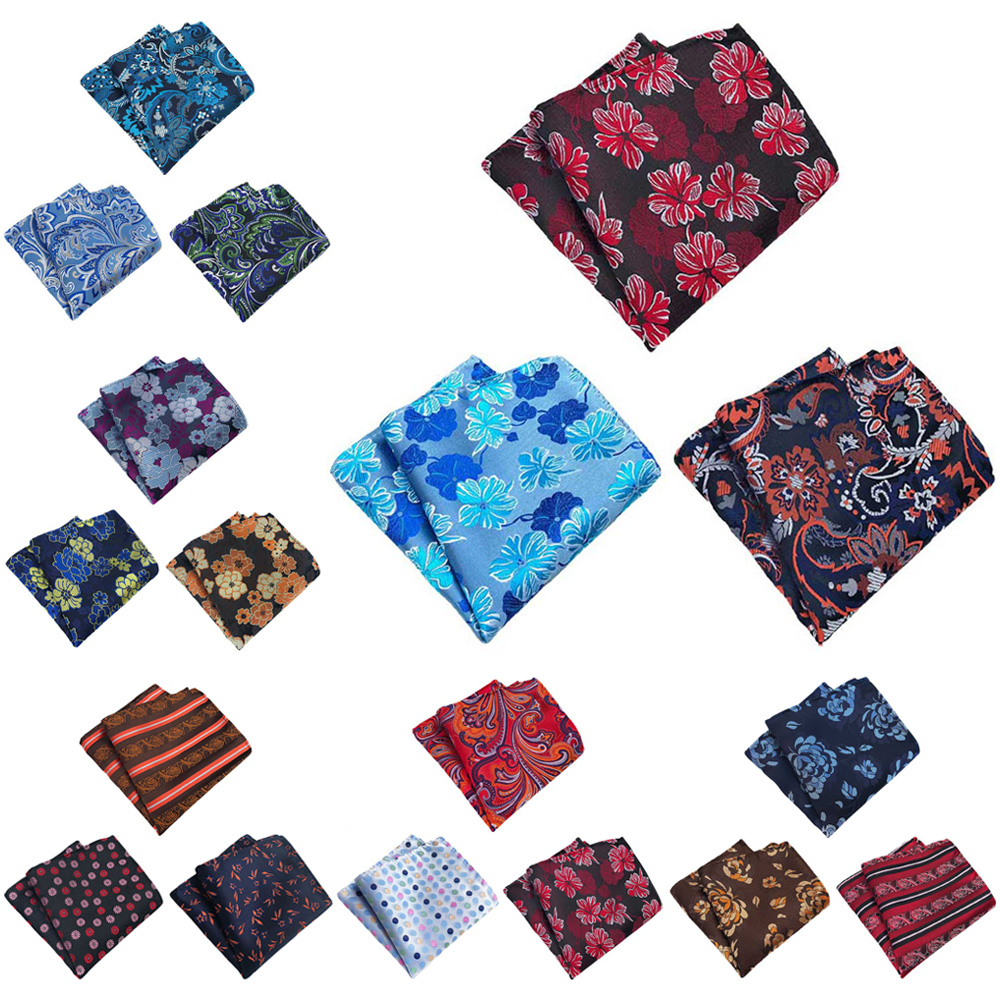 3 Packs Men's Classic Floral Pocket Square Wedding Party Business Handkerchief BWTHZ0365