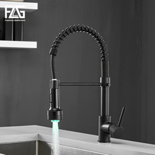 FLG LED Kitchen Faucets Spring Style Brass Faucet Pull Out Black Kitchen Mixer Taps Hot and Cold Water Swivel Sink Tap 189-33 стоимость