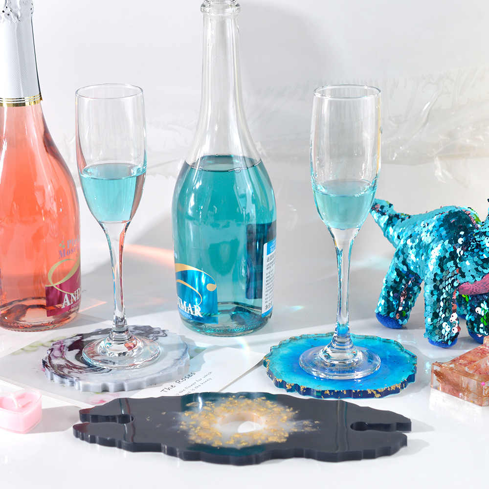 Wine Rack 3 PCS DIY Coaster Silicone Mold Cup Holder Mold Used to Make Artificial Agate Sheet Resin Coaster Mold Home Decoration Epoxy Resin Mold Tray Coaster
