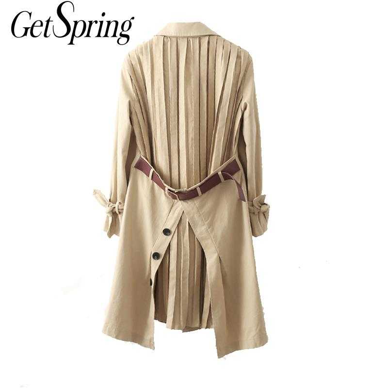 GETSPRING Women   Trench   Coats Split Patchwork Women Coat Bandage Asymmetric Oversize   Trench   Coats 2019 New Khaki Long Trenchs
