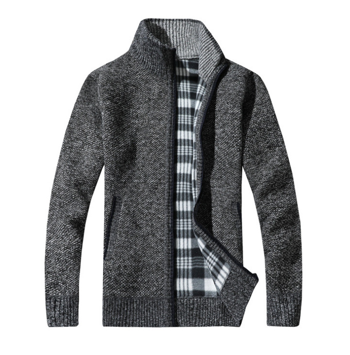 New Fashion Men's Knitted Cardigan Sweater Coat Fleece Lined Winter Warm Plain Jacket Fleece Tactical Hoodie Coats Outwear