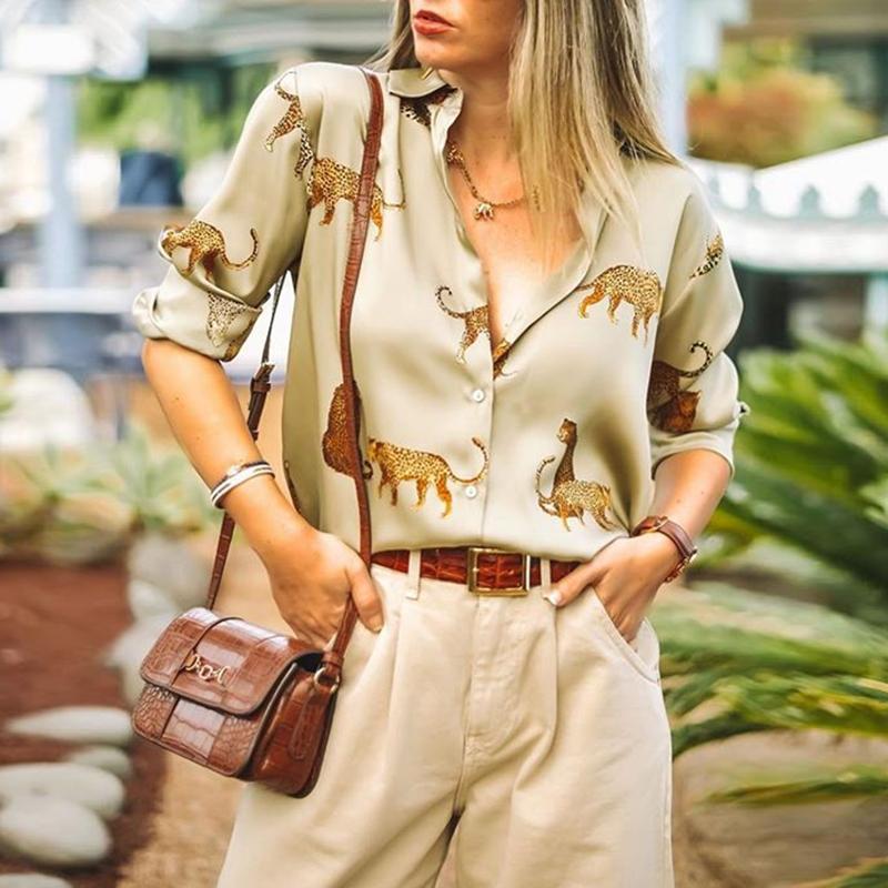 Aachoae Leopard Stylish Shirt Women Turn Down Collar Office Fashion Female Blouse Long Sleeve Plus Size Lady Tops Blusa Feminina