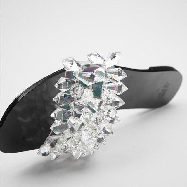 Nouveau cristal blingbling femmes diapositives été clair supérieur falt femmes pantoufles