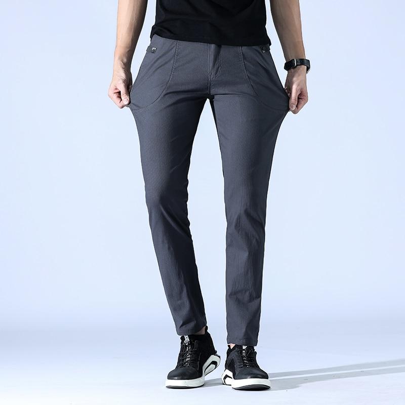 BINHIIRO Autumn Men's Pants Thin Section Breathable Comfortable Casual Pants Men Slim Mixed Cotton Jogging Sports Pants Male K62