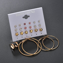 Rock Exaggeration Ear Circle 12 Paper Set Nail Suit Block Rhinestone Earrings Group Combine