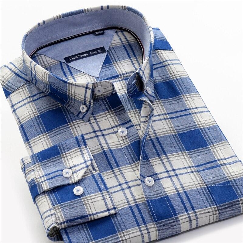 Cotton Plaid Shirt Men