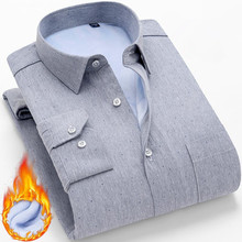 Men Shirt Long Sleeve Mens Dress Shirts Casual Slim Fit Business Winter Warm Padded Velvet Thick