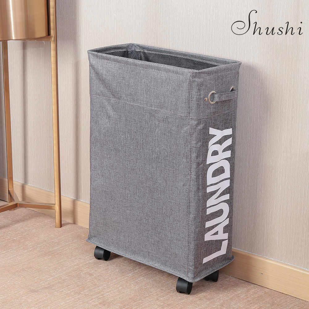 SHUSHI سليم قابل للانهيار سلّة غسيل المتداول ركن سلة الغسيل مع غرامة شبكة غطاء المنظم بن للملابس اللعب التخزين