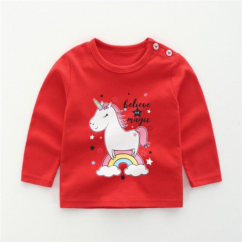 От 6 месяцев до 5 лет унисекс; сезон осень-зима; хлопковая футболка с длинными рукавами и героями мультфильмов; футболки для маленьких мальчиков и девочек; детская повседневная одежда; одежда с круглым вырезом - Цвет: 14